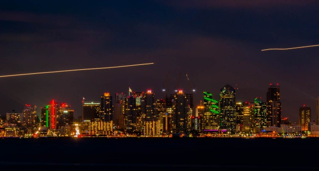 San Diego at night.  The tracks in the sky are planes coming in to Lindbergh Field