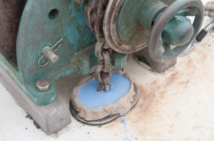 Initial pour of casting rubber.