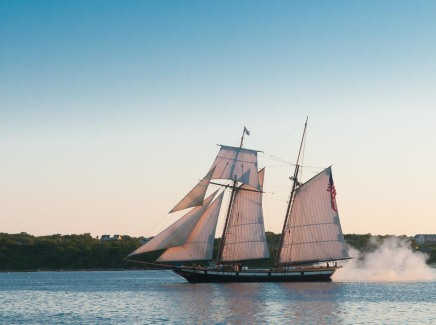 The Lynx announced her arrival into the Great Salt Pond with a salute from her cannon.