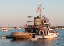 """""""Petersburg"""", the former Navy tug that is our closest neighbor here in the anchorage."""