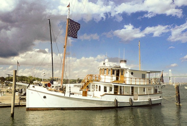 This beautiful old wooden hulled yacht was docked in Jamestown across from the ferry landing.