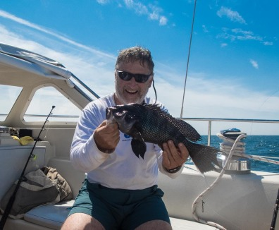 Not huge as fish go, but a sea bass is a very tasty dinner, and this is the biggest one I have ever caught.